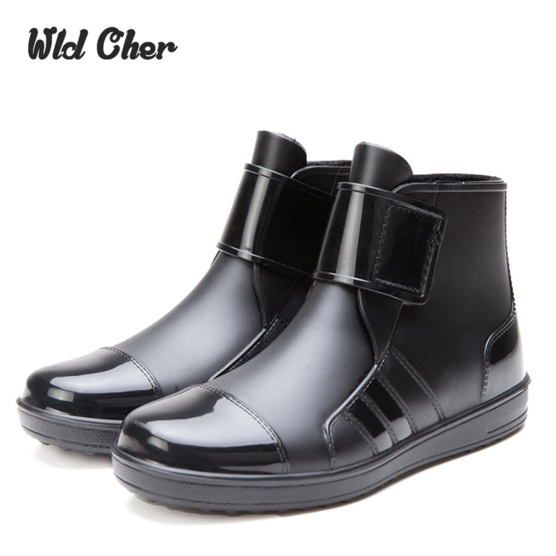 Rubber Boots 2017 Waterproof Trendy Jelly Men Ankle Rain Boot Elastic Band Solid Color Rainy Shoes Men Casual Shoes 39- 44