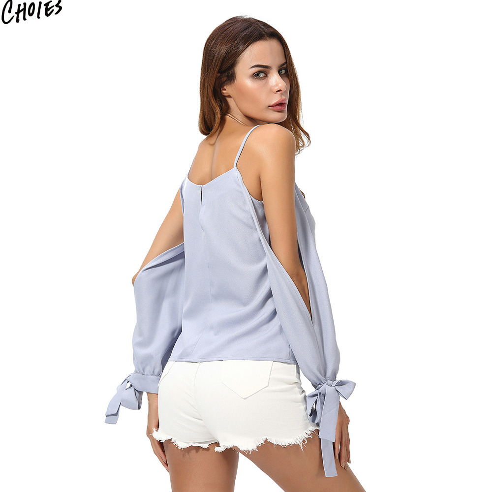 1fa85f678642f Light Blue Cold Shoulder Bow Cuff Chiffon Blouse Women Spaghetti Strap Long  Sleeve Cut Out V Neck 2017 Summer High Street Top-in Blouses   Shirts from  ...