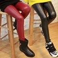 4 Cores 2-14 Anos de Bebê Meninas Calças De Couro De Alta Qualidade Cintura elástica Skinny Legging Para As Meninas 2015 Primavera Meninas Crianças calças