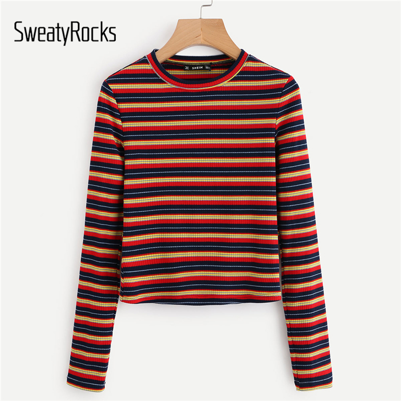 SweatyRocks Coloré Rayé Actif Tee Slim Fit Haut À Manches Longues 2018 Automne Couleur Bloc Femmes Casual T shirt