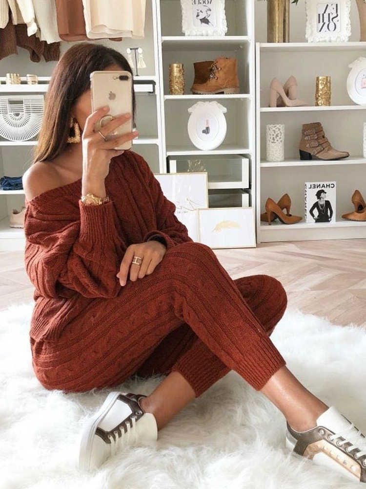 New Winter Women Sweaters Two Piece Set Knitted Tracksuit Jumpsuit+Slash Neck Sweater Pants Female Warm Sporting Suit For Women