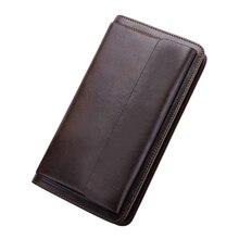 Premium 100% Cowhide Leather Long Large Capacity Men Wallets 2018 Brand Designer Male Purses Vintage Businessman Card