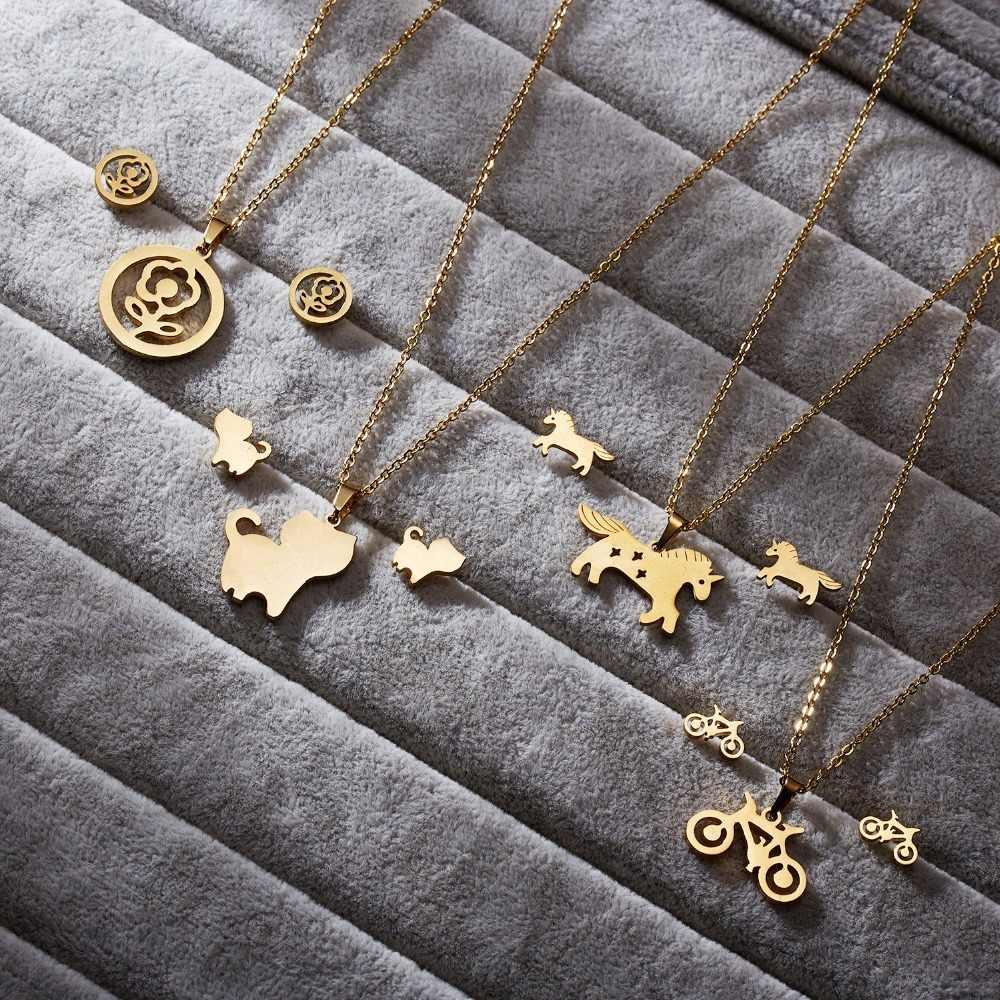 RINHOO Mom Liebe Pferd Rose Blume Gold Farbe Edelstahl Sets Für Frauen Halskette Ohrringe Schmuck Set Mutter der Tag schmuck