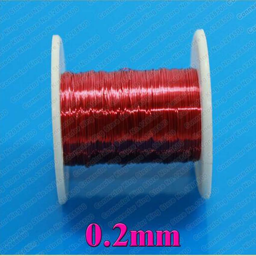 0 2mm x 100m pc Red Magnet Wire Enameled Copper wire Magnetic Coil Winding 0 2 mm Red in Wires Cables from Lights Lighting