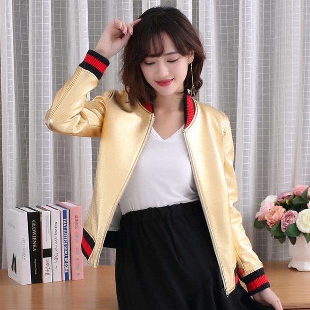 FREE SHIPPING 2017 New Women Golden Genuine Leather Jacket Real New Zealand Sheepskin Slim Fit Short Lady Fashion Winter Coat