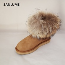 SANLUME Women Winter Leather for fur snow boots 100% Real sheepskin fur boots Classic chestnut Warm ankle boots size 42(China)