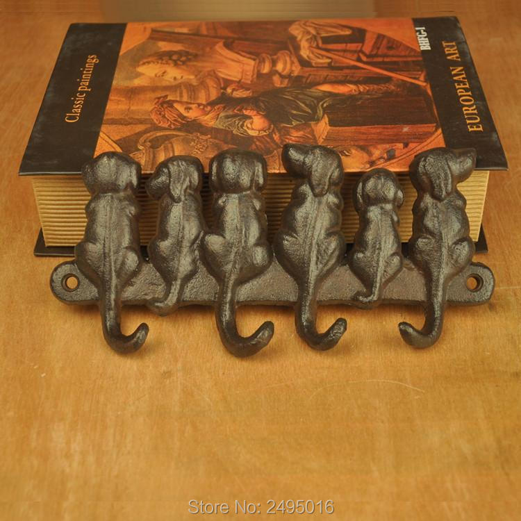6 Dogs Cast Iron Wall Hanger - Decorative Hook Rack Vintage Design with 4 Hooks Mounted
