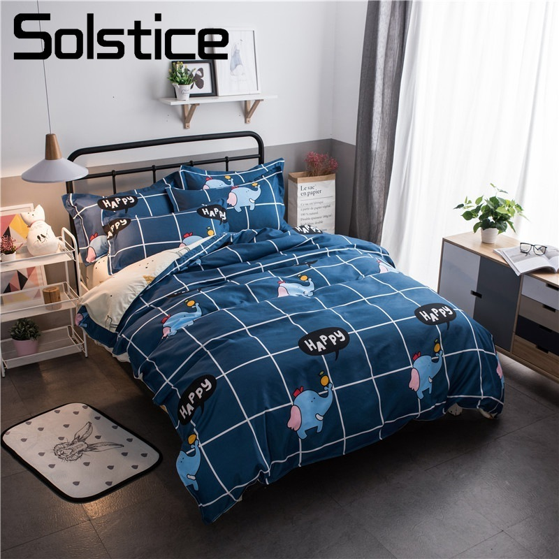 Solstice Home Textile Elephant Deer Design Duvet Cover Pillowcase Bed Sheet Child Kid Boy Girl Bedding Set Dark Blue Plaid Linen