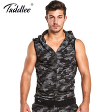 Taddlee Brand Hoodies Tank Top Men Sleeveless Zip-up Vest Active Camo Fitness Men's Active Hooded Gym Cotton Tees New