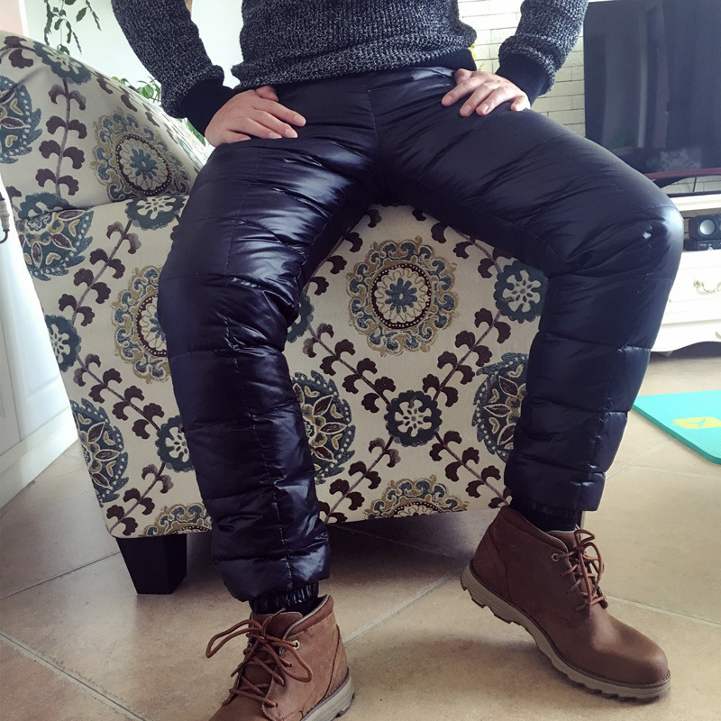 Winter Male White Duck Down Loose Pants Men Streetwear Thicken Thermal Trousers High Waist Warm Baggy Pants Plus Size A91007