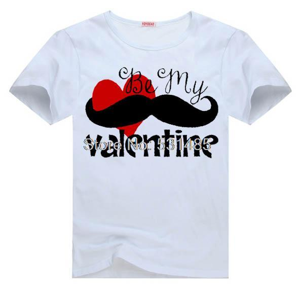 Mustache Tee Boys Be My Valentine T Shirt For Kid Boy Girl Clothing Top  Clothes Cartoon
