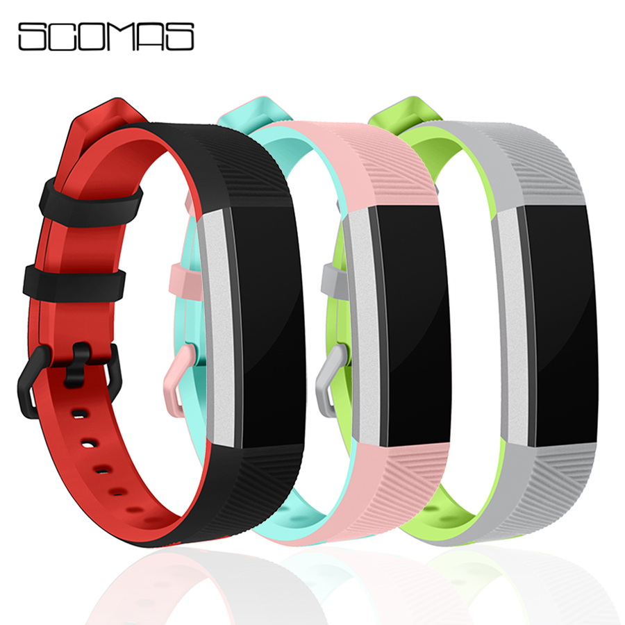 SCOMAS For Fitbit Alta HR Replacment Band Soft Silicone Double Color With Metal Buckle Wristband Strap For Fitbit Alta HR stainless steel watch band wrist strap for fitbit alta hr fitbit alta metal watchband fitbit alta fitbit alta hr metal band