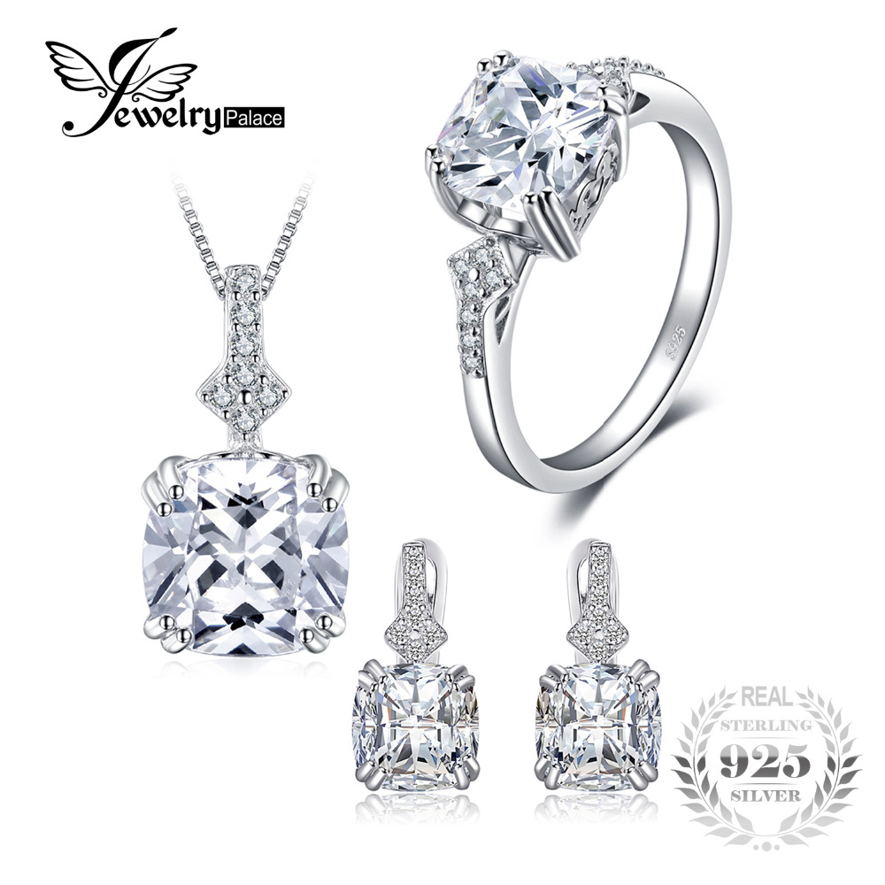 JewelryPalace 9.5ct Cushion Cut Cubic Zirconia Statement Rings Pendant Necklaces Hoop Earrings Jewelry Sets 925 Sterling Silver statement hollow out hoop earrings