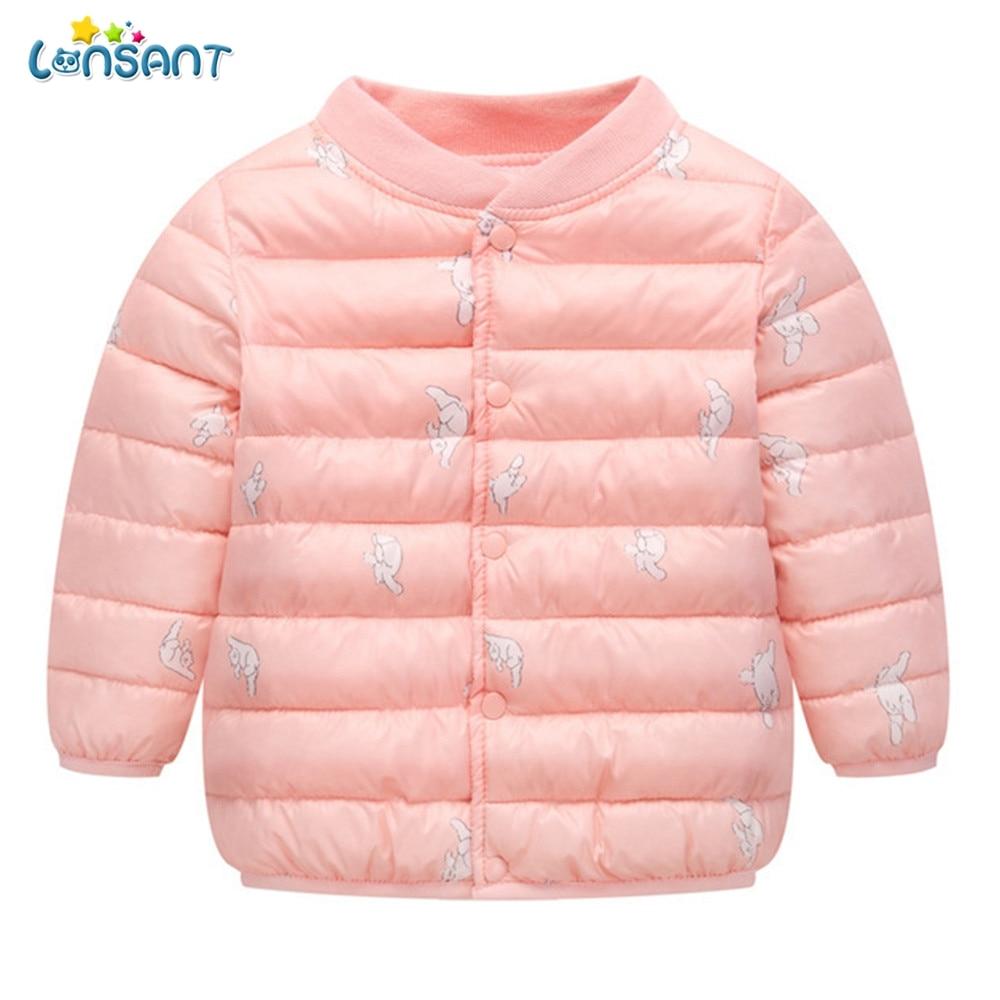 40ec25219 LONSANT bebé chaquetas 2018 Otoño Invierno abrigos para niña niños  historieta del invierno capa gruesa ropa de abrigo cálido