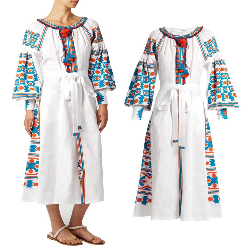 2017 Boho De Bordado Mujeres Marca Ucrania Vestidos Chic Borlas Maxi Étnico Las Vestido Blanco OOn0Tgq
