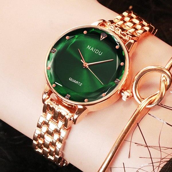 Nuevo NAIDU oro rosa mujeres relojes de señoras reloj de pulsera de mujer de cuarzo reloj de pulsera de reloj femenino. reloj para mujer kol saati Vintga Retro reloj de bolsillo negro liso bronce pulido cuarzo Fob reloj de bolsillo mosquetón colgante gancho Clip reloj luminoso fuerte
