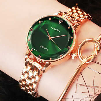 Nuevos relojes NAIDU de oro rosa para mujer, relojes de pulsera para mujer, reloj de pulsera de cuarzo para mujer, reloj de pulsera informal para mujer kol saati