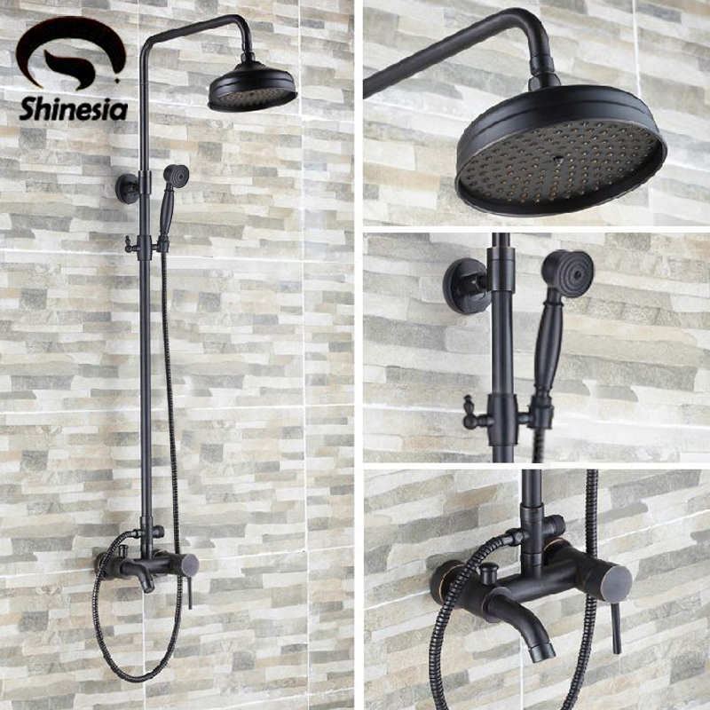 Luxury Oil Rubbed Bronze Bathroom 8 Rain Shower Faucet Set Wall Mounted Tub Shower Mixer Tap Hot and Cold Water uythner modern wall mounted oil rubbed bronze shower tub faucet mixer tap hot and cold