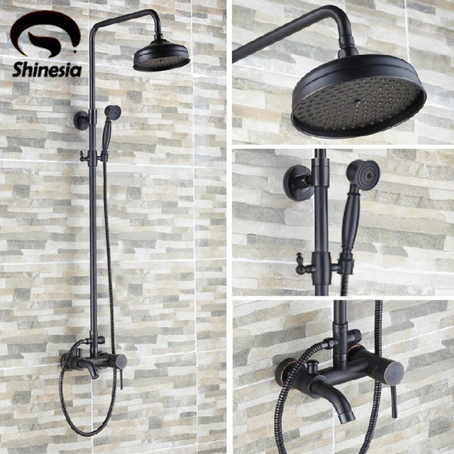 """Shinesia Luxury Oil Rubbed Bronze Bathroom 8"""" Rain Shower Faucet Set  Wall Mounted Tub Shower Mixer Tap Hot and Cold Water"""