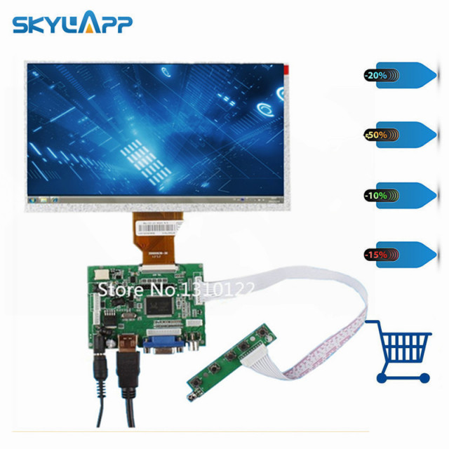 Skylarpu 9''Inch Display for AT090TN10 Raspberry Pi LCD Screen TFT Monitor + HDMI VGA Input Driver Board Controller (NO touch)
