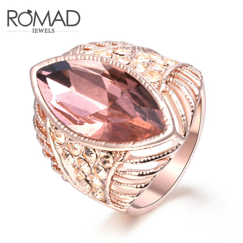 Hot Selling European and American Princess Ring Rose Gold Color Champagne Big Crystal Ring for Women Size 6 7 8 Fashion Jewelry