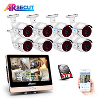 New List 1080P HD Outdoor Home Waterproof IR POE CCTV Camera Kit 12Inch LCD 8CH POE