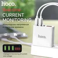 HOCO C15 5V 3A Universal LED Display 3 USB Port Wall Chargers Travel Charging Power Adapter