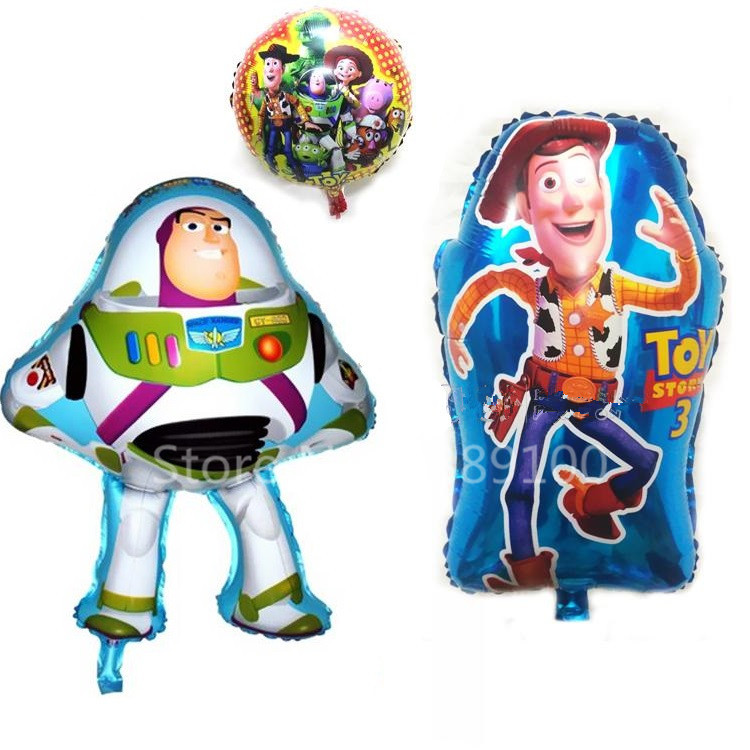 free shipping 3pcs set childrens toy toy story store theme birthday party decoration aluminum balloons toy story buzz woody - Party Decoration Stores