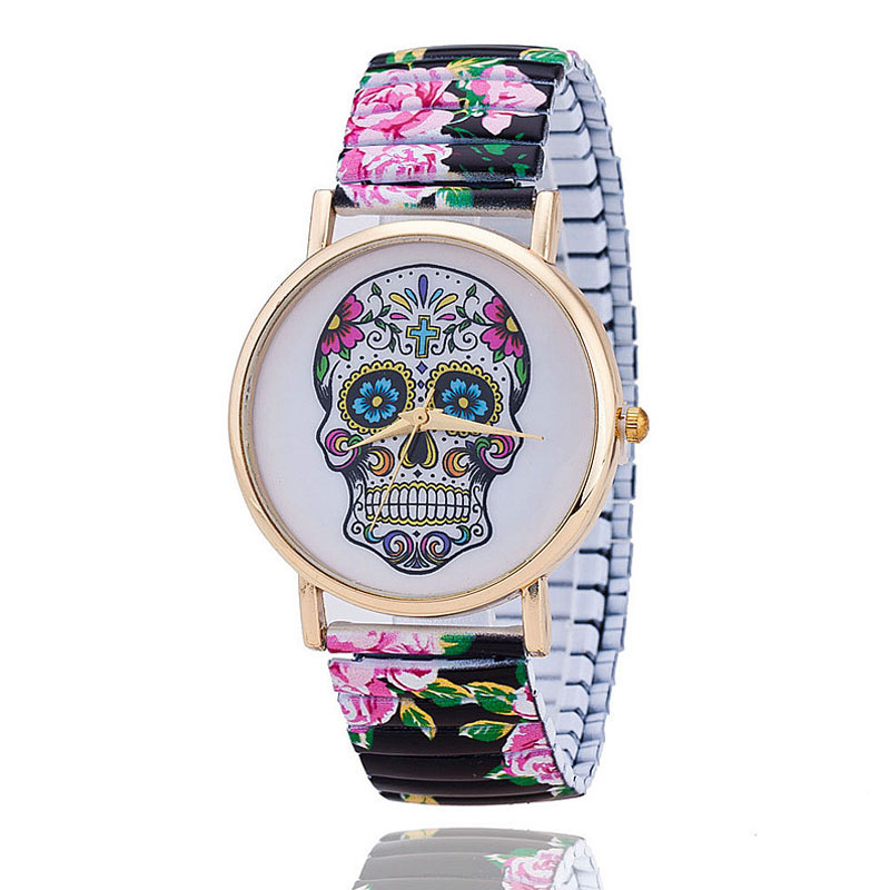 Wristwatch Men Women Stainless Steel Stretch Watchband Creative Skull Wrist Watch For Male Female Colorful New Arrival Analog