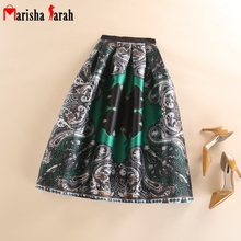 Summer Autumn New Trendy Vintage Retro Pattern Floral Printed Skirt Womens High Waist Mid-Calf Length Tulle Skirts Faldas Mujer