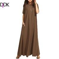 DIDK Summer Casual Long Dresses For Woman Plain Brown Crew Neck Short Sleeve Zipper Back Loose