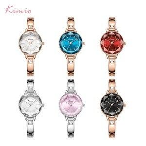 Image 5 - Panie KIMIO bransoletki z zegarkiem dla kobiet moda Red Dial zegarek 2019 Top marka luksusowe kobiet zegarek kwarcowy zegar Relogio Feminino
