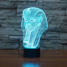 Cyber Monday 2017  Clearance Egypt Pharaoh Shape 3D Illusion LED Night light 7 Light Colors Table Lamp For Party Gift Children Bedroom Lamp Baby Toy