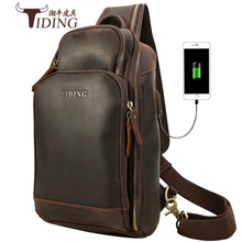 Chest Bag Men Crazy Horse Real Leather 2019 New Man Travel Shoulder Crossbody Charge Pack Bags Brand Business Big