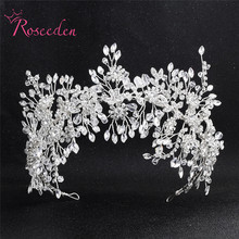 Romantic New Handmade Bride Flower Headpieces  Crystal Wedding Hair Accessories RE3445
