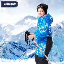 Фотография Moomin 2016 New arrival Winter Waterproof Romper 100% Polyester Cotton Filling Romper Winter Snowsuit one piece romper blue