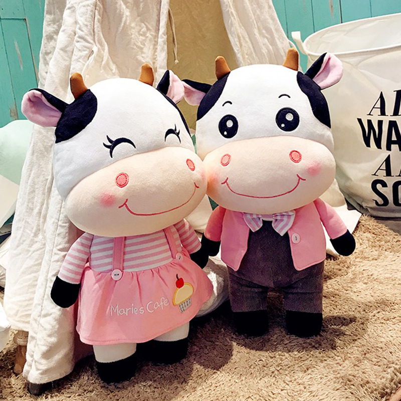 Candice guo! Super Q plush toy lovely happy couple cattle pink dress tie cow stuffed doll wedding toy birthday Christmas gift 1p candice guo super q cartoon chubby hamster squirrel plush toy doll backpack shoulder bag birthday gift 1pc