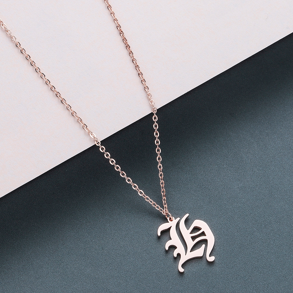 Todorova Old English Custom Capital Initial A-Z Letter Pendant Necklace Men Vintage Font Personalized Necklace Women Jewelry 22