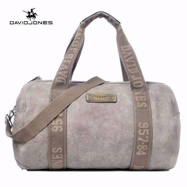 e9445299d3 DAVIDJONES Women style Travle Bags PU leather Messenger Bag Solid Bucket  Bag Large Femme Beach Sacs de voyages PortfelBolsa