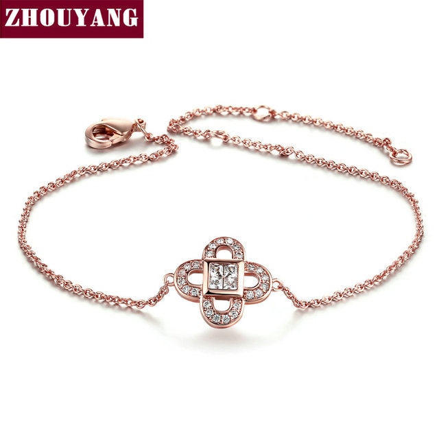 Top Quality Leaf Crystal Rose Gold Color Bracelet Made White Genuine Austrian Crystals ZYH184 ZYH185