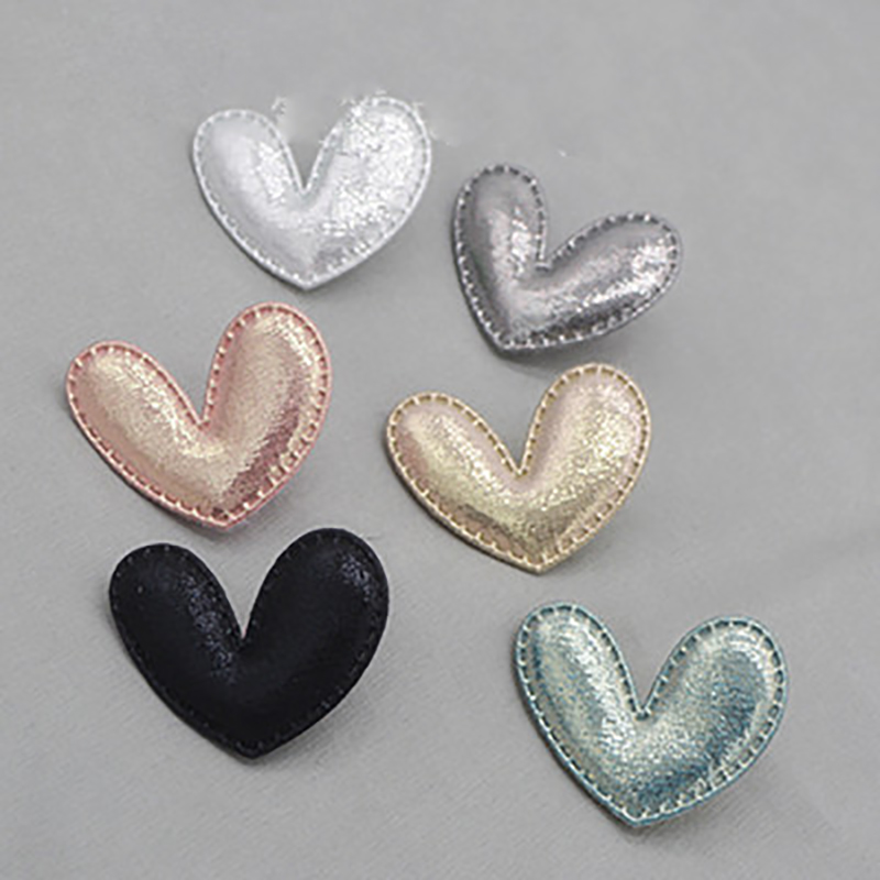 Shinny White Gray Grey Heart Embroidery Applique Patch