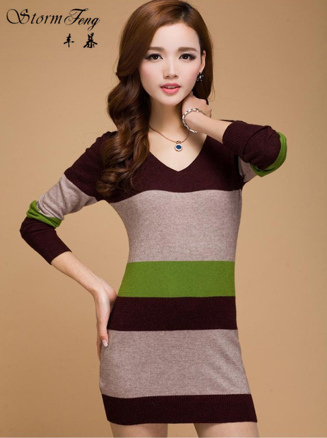 Womens Sweaters Fashion Autumn Winter Knitting Sweater Cashmere Mujer Dresses Sueter Women Pullovers Tops Stripes T171072