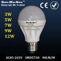 High Brightness 3W/5W/9W/12W Led LED Bulb lamp, E27/B22 led Spotlight, AC85-265V led bulb light, SMQP-2