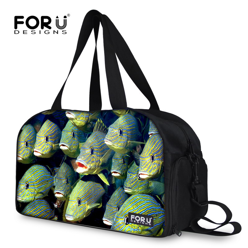 New fashion women travel tote 3d printing tropical fish travelling duffle bags cute fish female shoulder bags overnight bags