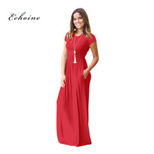 Echoine Party Long Dresses Women O-Neck Short Sleeve Simple Maxi Evening Female Robe Woman Clothes Casual Vacation Streetwear