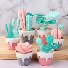 3Pcs/Set Succulents Potted Felt Kit Handmade Non-woven Multicapacity Process for Home Ornament Material DIY Package