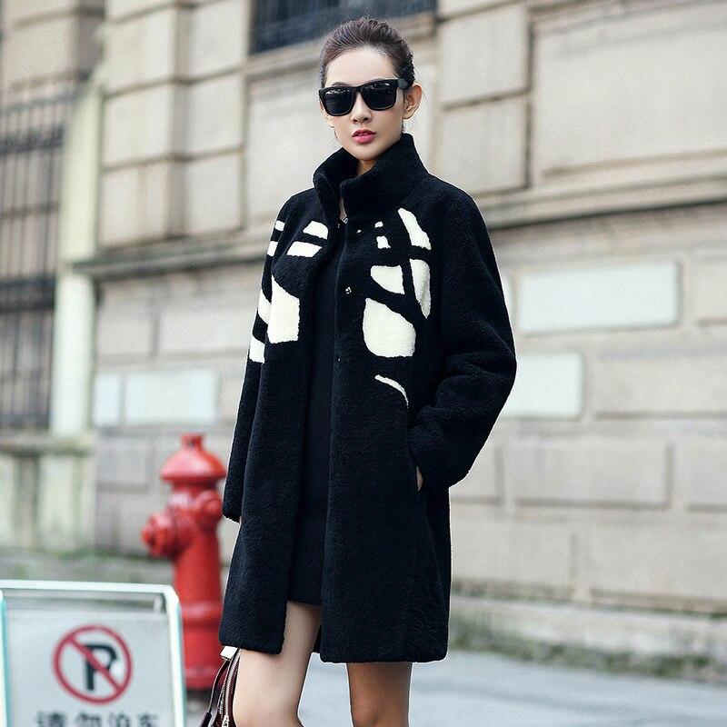 2019 Femmes Casaco Veste Fourrure Col Mode De Blue black Laine Qualité Manteaux D'hiver Mouton Femelle Pied Réel Feminino Supérieure Manteau rg4pwraSq