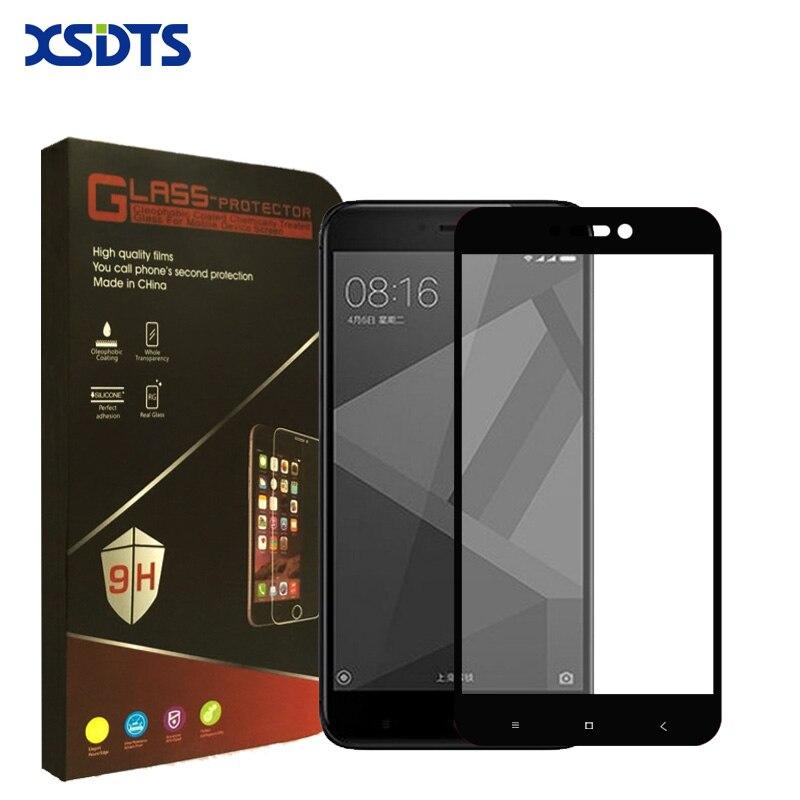 XSDTS For Xiaomi Redmi 4X Tempered Glass Redmi Note 4X Pro Screen Protector Film Full Cover Black White Redmi 4x glass tempered