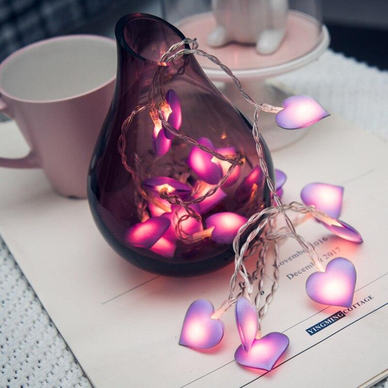 Ins сердце девушки макет комнаты светодиодный свет в спальне мигающий свет лампы ткани в форме сердца свадьбы романтический украшения огни ...