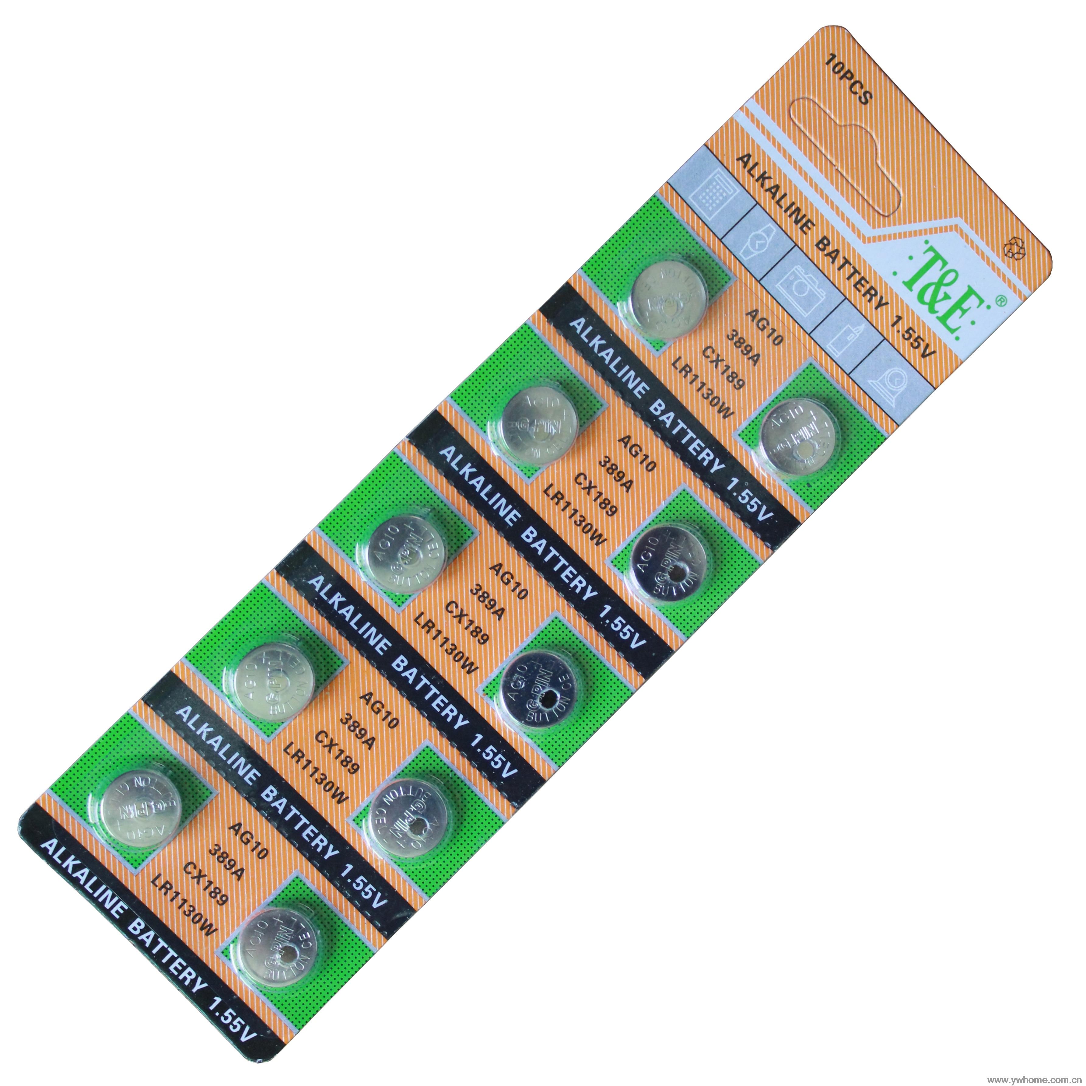 New T&E brand 10PCS AG10 LR1130 389 SR1130SW alkaline battery